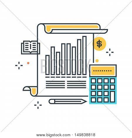Color Line, Statistics, Analytics Illustration