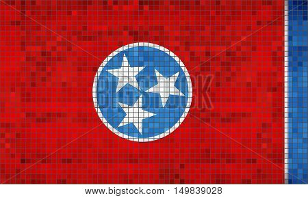 Abstract Mosaic flag of Tennessee - illustration,  The flag of the state of Tennessee,  Tennessee grunge mosaic flag