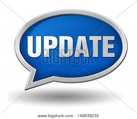 update badge 3d illustration isolated on white  background