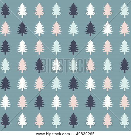 Flat design illustration of Christmas tree silhouettes in a pattern.