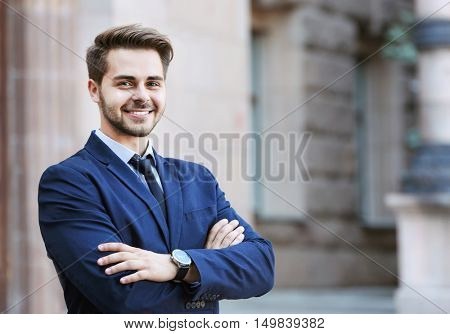 Handsome young lawyer  at office building