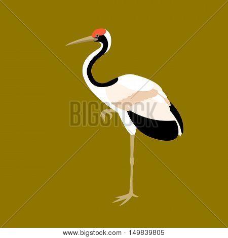 bird crane vector illustration style Flat profile