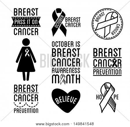 Breast cancer logos and ribbons