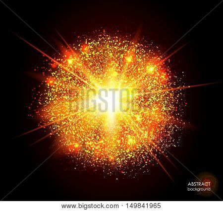 Explosion of supernova. Bright cosmic yellow orange fire background. Glowing space. Bundle of energy. Cloud of dust and light on black background. Round abstract composition. Vector illustration EPS10
