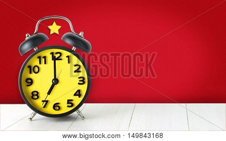Chinese communism concept alarm clock with copy space