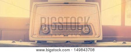 Vintage Transistor radio receiver speaker in vintage color