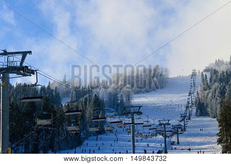 Chair lift in the Carpathian mountains, Ukraine
