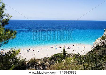 Milos beach near the Agios Nikitas village on Lefkada Greece