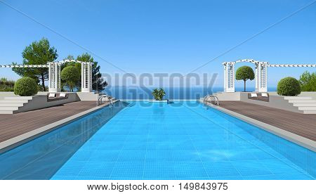 summer vacations scenery with swimming pool and a view to the sea - 3D rendering