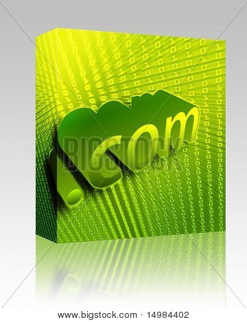 Software package box dotCom background, digital abstract internet information illustration