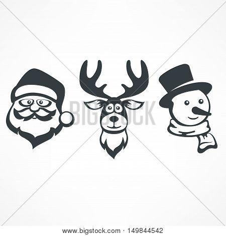 Santa, Snowman & Deer