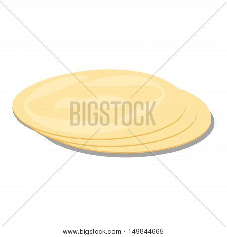 Tortillas pita. Bread vector isolated, illustration, groceries