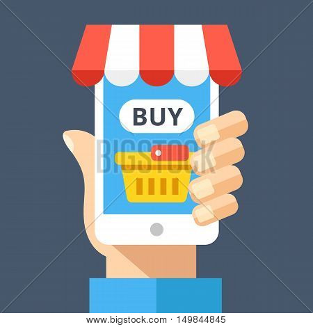 Hand holding smartphone with shopping basket and buy button on screen and decorative awning. Ecommerce, online store, internet shop, e-commerce concepts. Modern flat design vector illustration