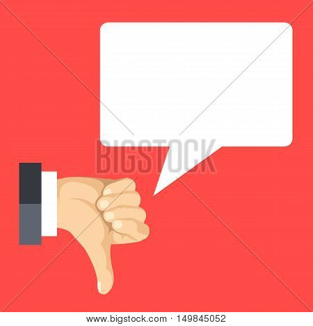 Cartoon vector thumbs down and speech bubble. Bad review, angry comment concepts. Flat design illustration