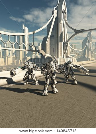 Science fiction illustration of three robot sentinels standing guard on a future city bridge, digital illustration (3d rendering)
