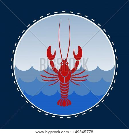 Vector isolated crayfish or lobster in circle navy blue frame.