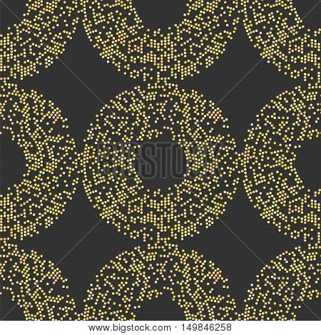 Seamless vector pattern with circle by circles in yellow colors on dark background
