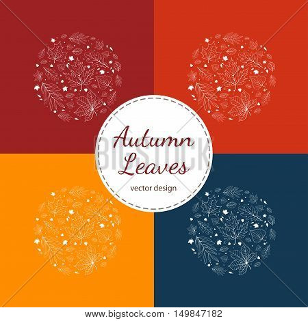 Set of autumn leaves postcards white outlines on red, orange, blue and yellow backgrounds.