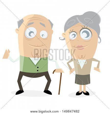 clipart of a happy senior couple