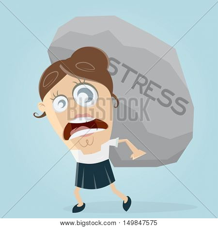 clipart of businesswoman carrying a big stress rock