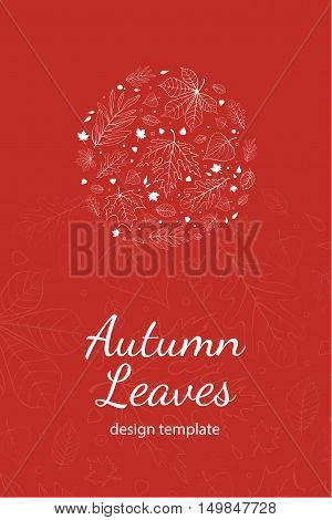 Autumn leaves postcard design template white outline on red