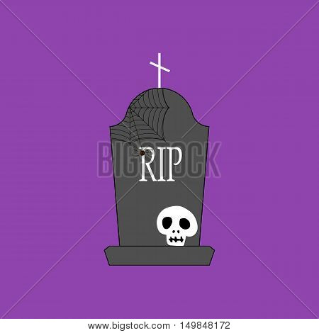 Headstone and skull on the purple background. Vector illustration