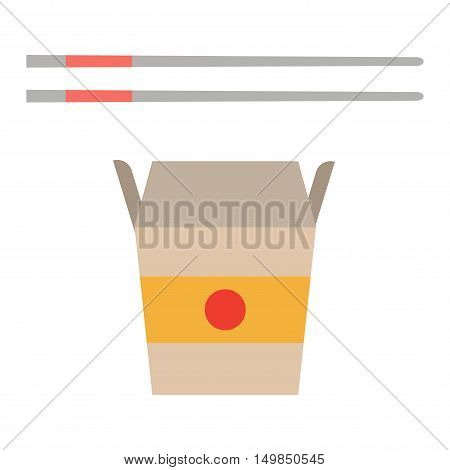 Chinese or japanese Fast food noodles box food dinner cuisine and meal dish lunch. Chinese vegetable oriental asia restaurant food. Fast food noodles box isolated
