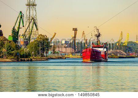 Bunker ship leaving port of Gdansk Poland.