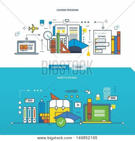 Concept of back to school, course programs, training, mobile learning. Color Line icons collection.Vector design for website, banner, printed materials and mobile app.