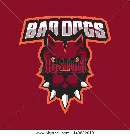 Modern professional logo for sport team. Pitbull mascot. Pitbulls, vector symbol on a dark background
