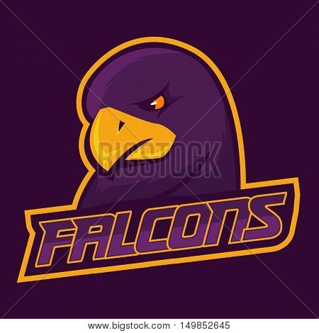 Modern professional logo for sport team. Falcon mascot. Falcons, vector symbol on a dark background