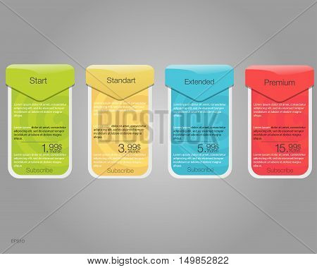 Four banner for the tariffs and price lists. Web elements. Plan hosting. Vector design for web app. Plan for website in flat design.