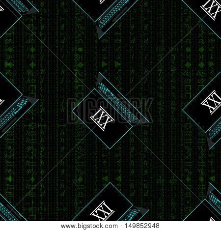 Seamless pattern, a realistic laptop against the background of a flow of digits of green color.