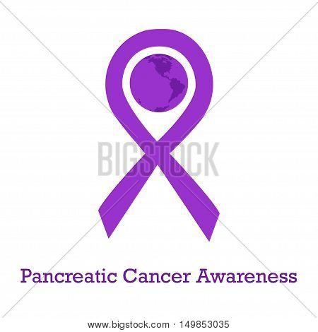 International day of pancreatic cancer awareness vector illustration with violet purple ribbon traditional symbol and earth globe in similar colors. Perfect for badges banners ads flyers on oncology problem