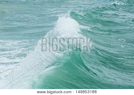 strong backwash currents causing a wave motion before it breaks on the sand