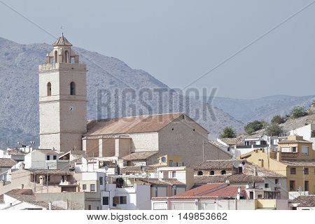 buildings and church of saint peter apostle in the township of polop de la marina in the province of alicante spain