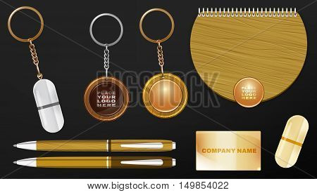 Vector illustration of a wooden and metal souvenirs with a rings for a key, notebook and pens Isolated on a white background. Ideal template for branding, identity guidelines and promo campaigns.
