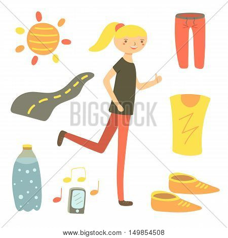 Hand drawn flat style running woman. Sport objects set including shorts t shirt sun road water bottle snickers phone. Sport objects icons