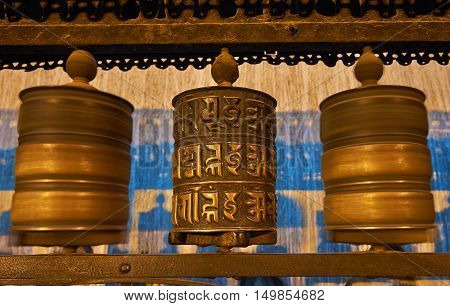 Buddhist Prayer Wheels In Swayambhunath