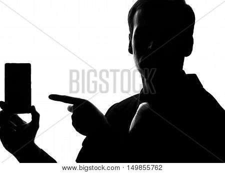 Young Man In Suit And Tie Point On Smartphone