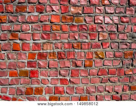 Mosaics made of red stones of rectangular