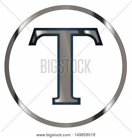 Tau a letter from the Greek alphabet isolated over a white Background.