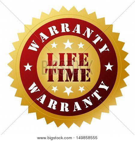 illustration of lifetime warranty badge isolated on white  background