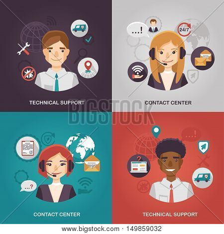 Illustrations for technical support and contact center.