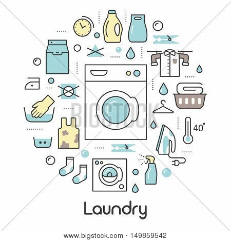Laundry Service Thin Line Icons Set with Laundrette Elements