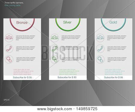 Three tariffs banners. Web pricing table. Vector design for web app. Set offer tariffs. Price list.