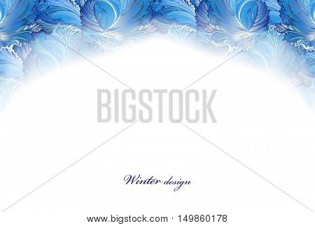 Top part frozen glass decor. Winter holiday blue frost background. Blue, cyan and white horizontal top design banner with snow hoar frost ice for winter holiday template. Vector illustration stock vector.