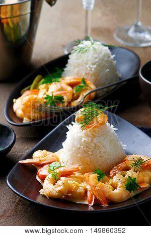 Sauteed Shrimp in White Wine. selective focus