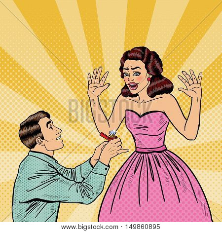 Pop Art Man Doing Marriage Proposal to his Girlfriend with Wedding Ring. Vector illustration
