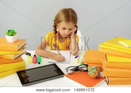school and homework concept, tired kid with copy space